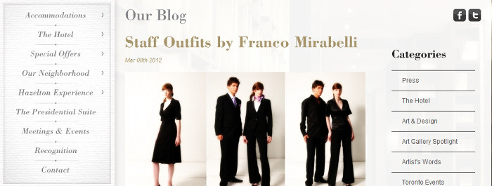 Hazelton Hotel – Staff Outfits By Franco Mirabelli